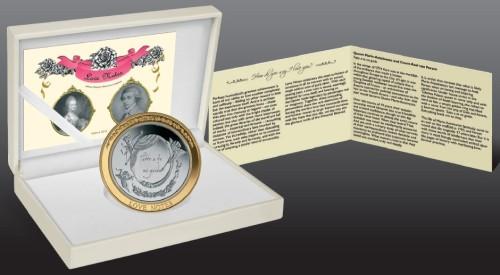 монета о любви с позолоченным кольцом