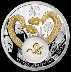 """Реверс серебряной монеты """"Золотые змейки"""""""