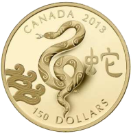 Золотая монета Канады к 2013 Году Змеи номинал 150 канадских долларов