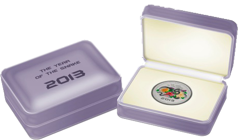 Монета к 2013 Году Змеи. Серебро, Острова Кука, 5 долларов