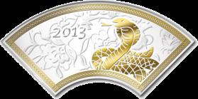 """Серебряная монета с позолотой """"Год Змеи"""" в форме веера"""