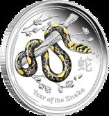 """Цветная серебряная монета 1/2 унции """"Год Змеи"""""""