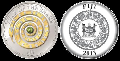 """Серебряная монета """"Год Змеи"""" Фиджи с жемчужиной"""