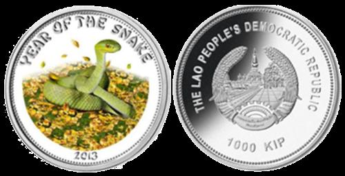 "Серебряная монета ""Год Змеи"" Лаос"
