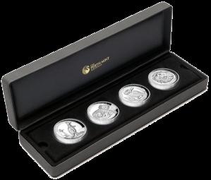 Набор 4 серебряные монеты 2012 с высоким рельефом