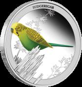 """Серебряная монета """"Волнистый попугайчик""""Silver-1_2oz"""