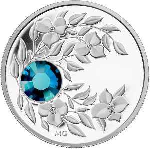 "Серебряная монета ""Декабрь"" с кристаллом ""Циркон"" Канада 2012"
