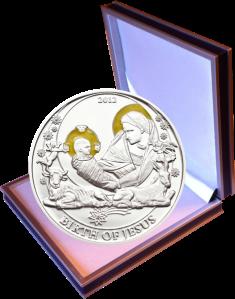Рождение Иисуса Христа Серебряная монета 2012 в футляре