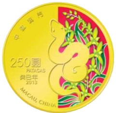 Macau---250-Patacas---Year-of-the-Snake-Coloured-1-4-Oz-Gold-Proof-2012