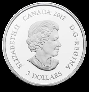 Аверс серебряной монеты 3 доллара Канада 2012