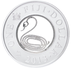 Год Змеи серебряная монета Фиджи с филигранью