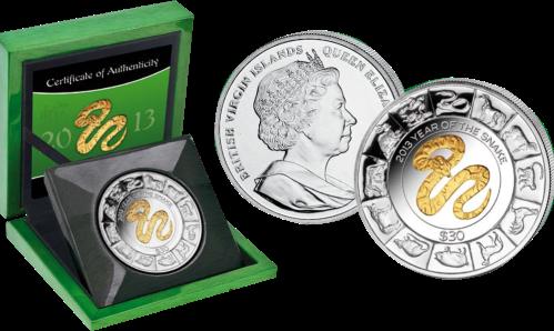 "Серебряная монета с позолотой ""Год Змеи""  Британские Виргинские Острова"