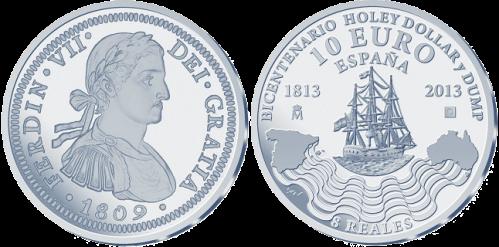 """10 евро серебряная монета  """"200 лет кольцевого доллара и вставки"""""""