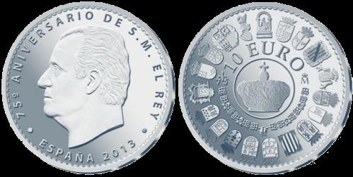 Серебряная монета 10 евро к 75-летию Хуана Карлоса короля Испании