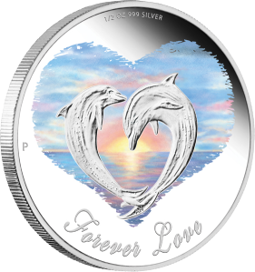 "Серебряная монета ""Любовь навсегда"" 50 центов Тувалу"