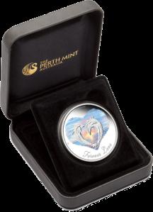 Любовь навсегда Серебряная монета в футляре