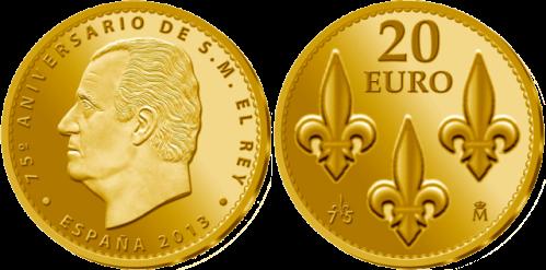 Золотая монета 20 евро к 75-летию короля Испании Хуана Карлоса