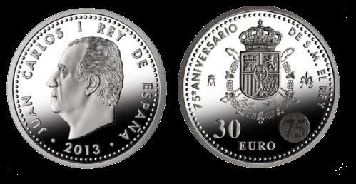 Серебряная монета 30 евро к 750летию короля Испании Хуана Карлоса