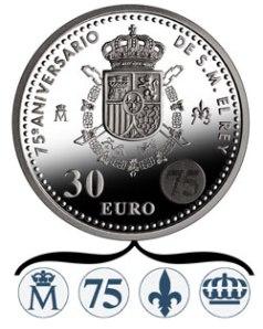 Латентное изображение на серебряной монете 30 евро к 75-летию Хуана Карлоса