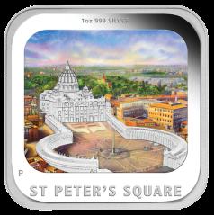 """Монета """"Площадь Святого Петра"""" Австралия 2013 квадратная"""