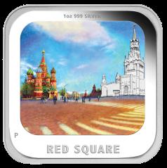 "Серебряная монета ""Красная площадь"" квадратная"