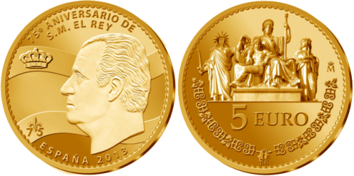 Позолоченная серебряная монета 5 евро к 75-летию Короля Испании Хуана Карлоса