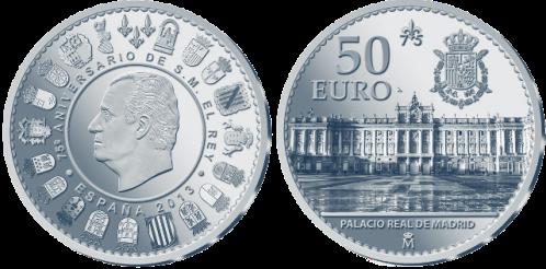 Серебряная монета 50 евро  к 75-летию Хуана Карлоса I