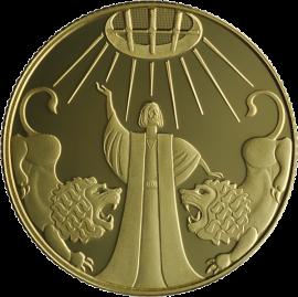 """Золотая монета """"Даниил во львином рву"""" 2012 Израиль"""