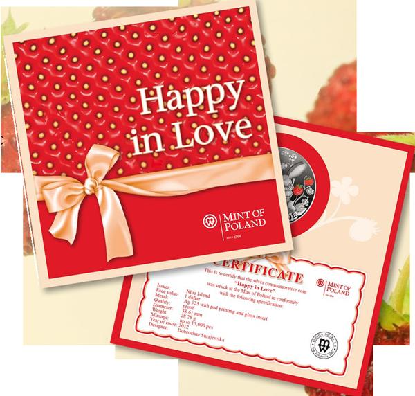 Счастливы в любви монета в открытке