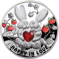 Счастливы в любви Серебряная монета с кроликами