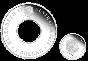 """Аверсы монет из набора """"200 лет кольцевому доллару и монеты-вставки"""""""