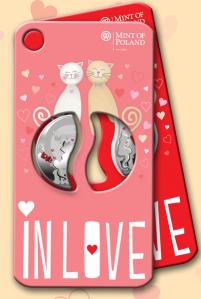 """Монеты """"Влюблённые"""" в составной открытке"""