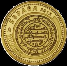 Аверс золотой монеты 100 евро Сокровища нумизматики 2012 Испания