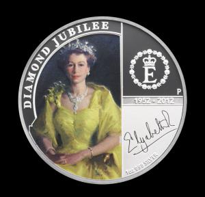 """Перт Серебряная монета """"Бриллиантовый юбилей Королевы"""""""