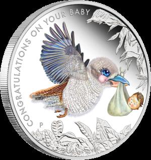 """Серебряная монета """"Новорожденному"""" Австралия 2013"""