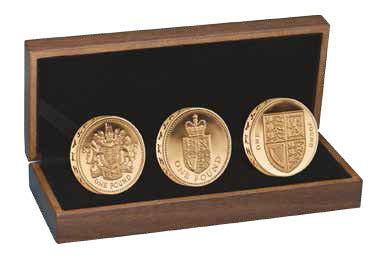Набор из 3 золотых монет к 30-летию однофунтовой монеты