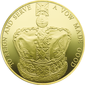 Позолоченная коронационная серебряная монета 2013 Великобритания