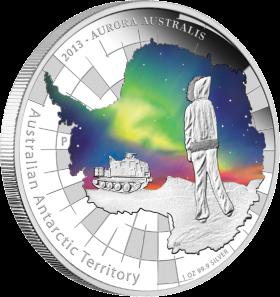 Антарктика Австралии. Южное сияние Серебряная монета 2013 Перт