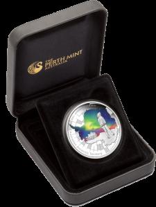 Aurora Australis-Silver-1oz-монета In Case