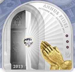 2013 Год Веры серебряная монета с позолотой и кристаллом Сваровски