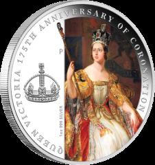 Серебряная монета в честь 175-летия Коронации Королевы Виктории
