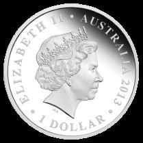 Аверс серебряной монеты 1 австралийский доллар 2013 года