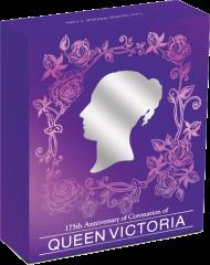 Коробка к серебряной монете в честь 175-летия Коронации Королевы Виктории, Австралия 2013