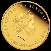 Аверс золотой монеты 200 австралийских долларов 2013
