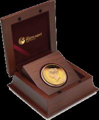 Золотая монета к 175-летию Коронации Королевы Виктории в деревянном футляре, Австралия 2013