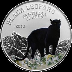 """Серебряная монета """"Чёрный леопард"""" 1000 франков Нигерия 2013"""