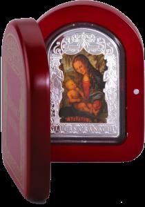 Мадонна под пихтой Серебряная монета 15 динаров Андорры 2013