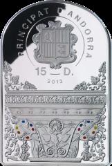 Аверс серебряной монеты Мадонна 2013 г. 15 динаров