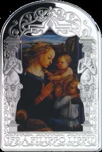 Мадонна с младенцем и двумя ангелами Филиппо Липпи серебряная монета 2013 15 динаров