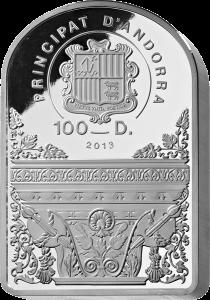Аверс серебряной 1 кг монеты Мадонна 100 динаров Андорра 2013